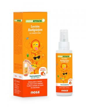 Nosa Attack Loción Antipiojos 5% Dimeticona aroma Melocotón 100ml Tu Cruz Verde