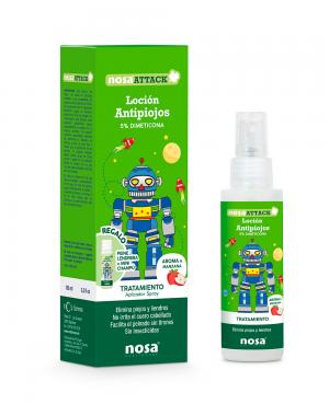 Nosa Attack Loción Antipiojos 5% Dimeticona aroma Manzana 100ml Tu Cruz Verde