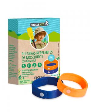 Nosa Kit Pulseras Repelentes de Mosquitos azul y naranja Tu Cruz Verde