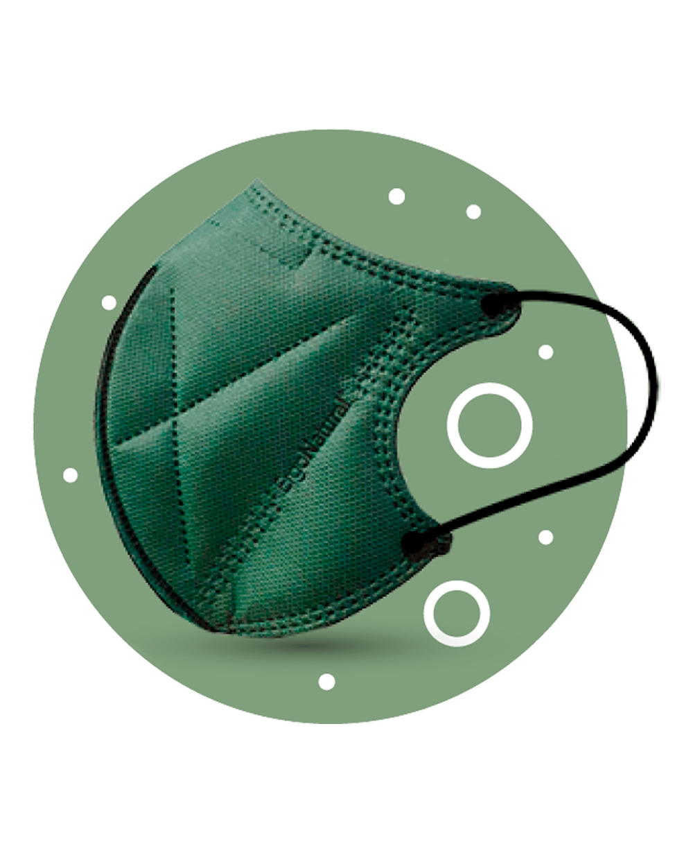 Mascarilla Negra Higiénica Ergo Natural Reutilizable Pack 2 Unidades Color Verde Tu Cruz Verde