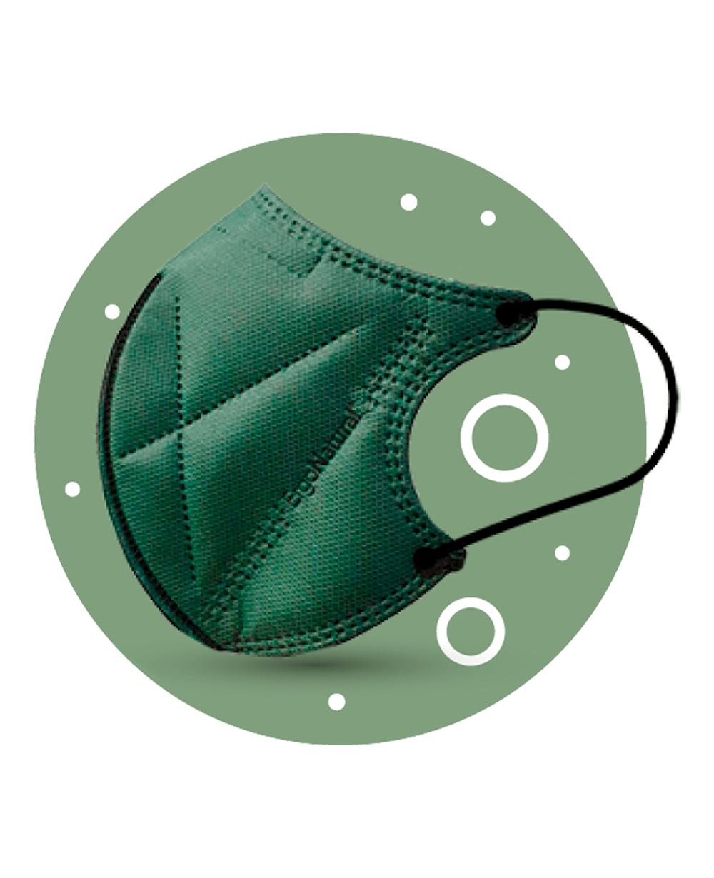 Mascarilla Higiénica Infantil Ergo Natural Reutilizable Pack 2 unidades Tu Cruz Verde Color Verde